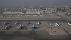 Dubai airport and city view Stock Footage