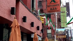 New York City 496 Little Italy district; advertising for Italian restaurants Stock Footage