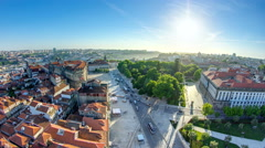 Praca de Lisboa -  view from Clerigos Tower in Porto timelapse, Portugal - stock footage