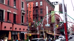 New York City 499 Little Italy district; red facades and street decoration Stock Footage