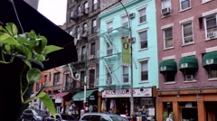 New York City 500 Little Italy district; street view and colorful facades Stock Footage