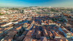 Red roofs of city centre -  view from Clerigos Tower in Porto timelapse Stock Footage