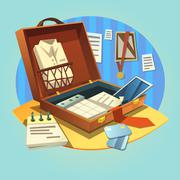 Business retro briefcase - stock illustration