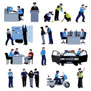 Policeman People Flat Color Icons Stock Illustration