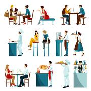 Restaurant Visitors Flat Icons Set Stock Illustration