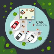 Car Dealership Top View Flat Poster - stock illustration
