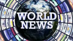 World News, Earth and Monitors Tunnel, Loop, 4k - stock footage