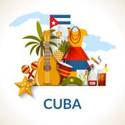 Cuban National Symbols Composition Poster Print - stock illustration