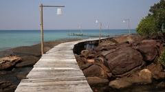 Wooden pier on the beautiful tropical beach in island Koh Kood , Thailand Stock Footage