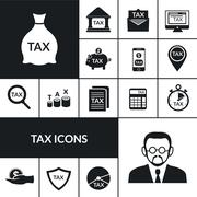 Tax Symbols  Black Icons Composition Banner - stock illustration