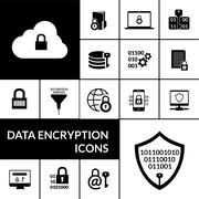 Data Encryption Black Icons Composition Banner Stock Illustration