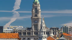 Town Hall building Camara Municipal do Porto timelapse on Liberdade Square Stock Footage