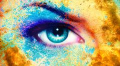 women eye, color rust effect, painting collage, violet makeup - stock illustration