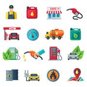 Gas Station Color Icons Set Stock Illustration