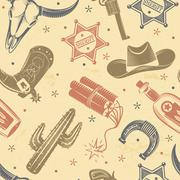 Cowboy Seamless Pattern - stock illustration