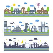 City Skylines vector icons set Stock Illustration
