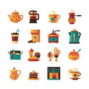 Coffe and Tea Set  Icons Flat Stock Illustration