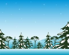 Winter day in wood - stock illustration