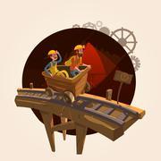 Mining cartoon concept Stock Illustration