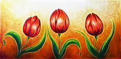 Flower motive, three dancing red tulip flowers, beautiful bright colorful Stock Illustration