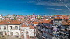 Panoramic overview of old town of Porto timelapse, Portugal Stock Footage
