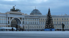 Christmas tree on the Palace Square. - stock footage