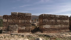 Anjar city ruins zoom in Stock Footage
