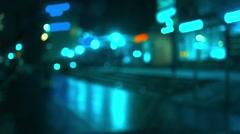 Illuminated night street bokeh video Stock Footage