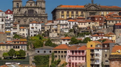 Overview of old town of Porto timelapse, Portugal Stock Footage