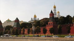 View On Kremlin Wall And Towers Stock Footage