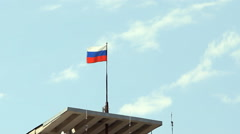 Tricolor of Russian Federation flag fluttering in the wind - stock footage