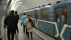 Train departure at the Moscow metro from station Shelkovskaya. Stock Footage