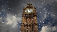 Big Ben Clock Tower During Snowstorm with Moving Background Clouds Timelapse. Stock Footage