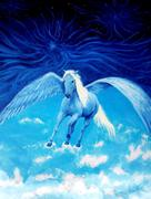 Flying white pegasus horse high up in the skies, beautiful detailed oil painting Stock Illustration