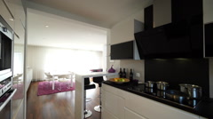 Kitchen and sitting room on sunny day Stock Footage