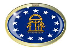 Stock Illustration of Georgia State Flag Oval Button