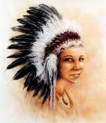 illustration painting young indian woman wearing a gorgeous feather headdress - stock illustration