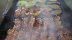 Barbecue With Delicious Grilled Meat On Grill. Barbecue Party. Stock Footage