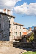 stone buildings in the old town - stock photo