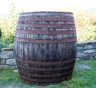 big old wooden barrel - stock photo