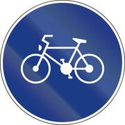 Slovenia road sign - Route for pedal cycles only Stock Illustration