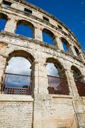 Ancient amphitheater in Pula Croatia - stock photo