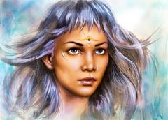 Beautiful painting portrait of a young enchanting woman warrior with white Stock Illustration
