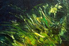 color oil painting, green plant on dark  background - stock photo