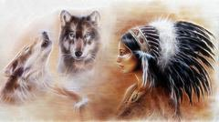 young indian woman wearing a gorgeous feather headdress, with wolves - stock illustration