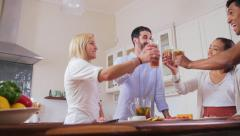 Stock Video Footage of Friends cheers drinks at home