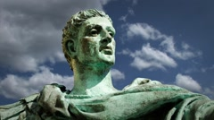 Statue of Constantine The Great with Background Clouds in Timelapse - stock footage
