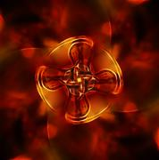 Colorful mandala on a fractal effect on red fire background Stock Photos