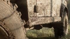 Dirty offroad car side door Stock Footage