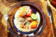 Top view of healthy breakfast with poached eggs royale with colour fractal Stock Photos